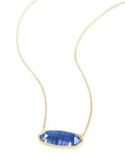 Delaney Gold Pendant Necklace in Navy Cat's Eye