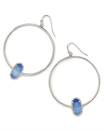 Elora Silver Hoop Earring In Periwinkle Cats Eye