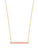 Kelsey Gold Pendant Necklace in Coral Kyocera Opal