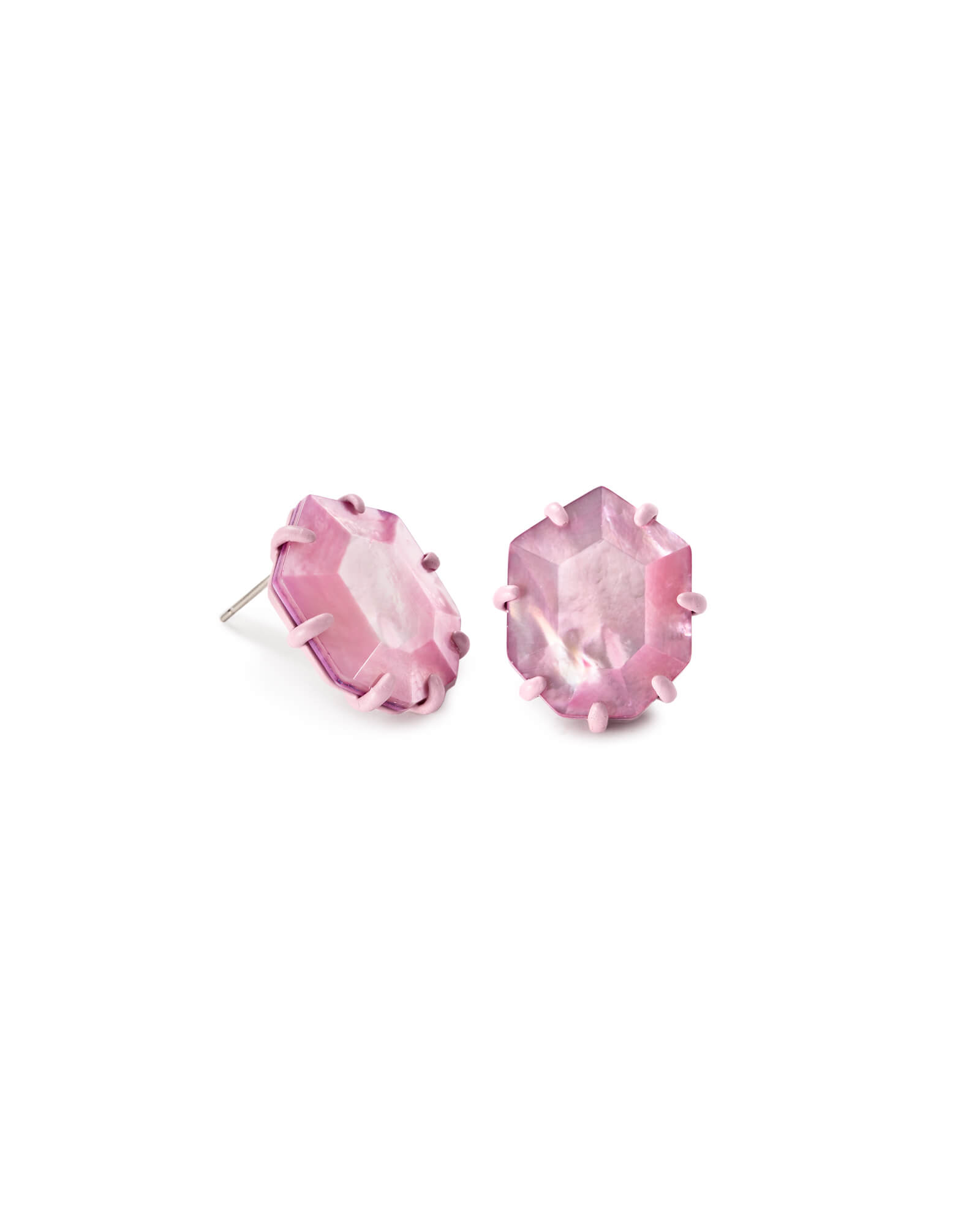 Morgan Matte Stud Earrings in Lilac Mother of Pearl