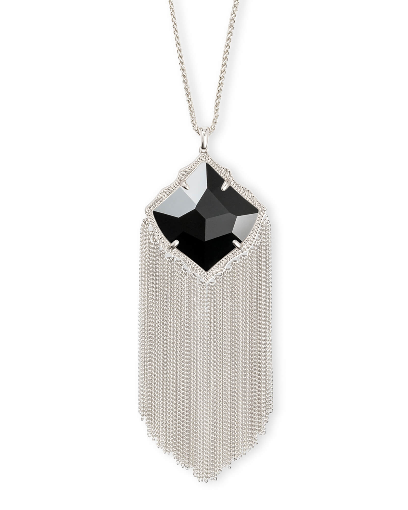 Kingston Long Pendant Necklace in Silver