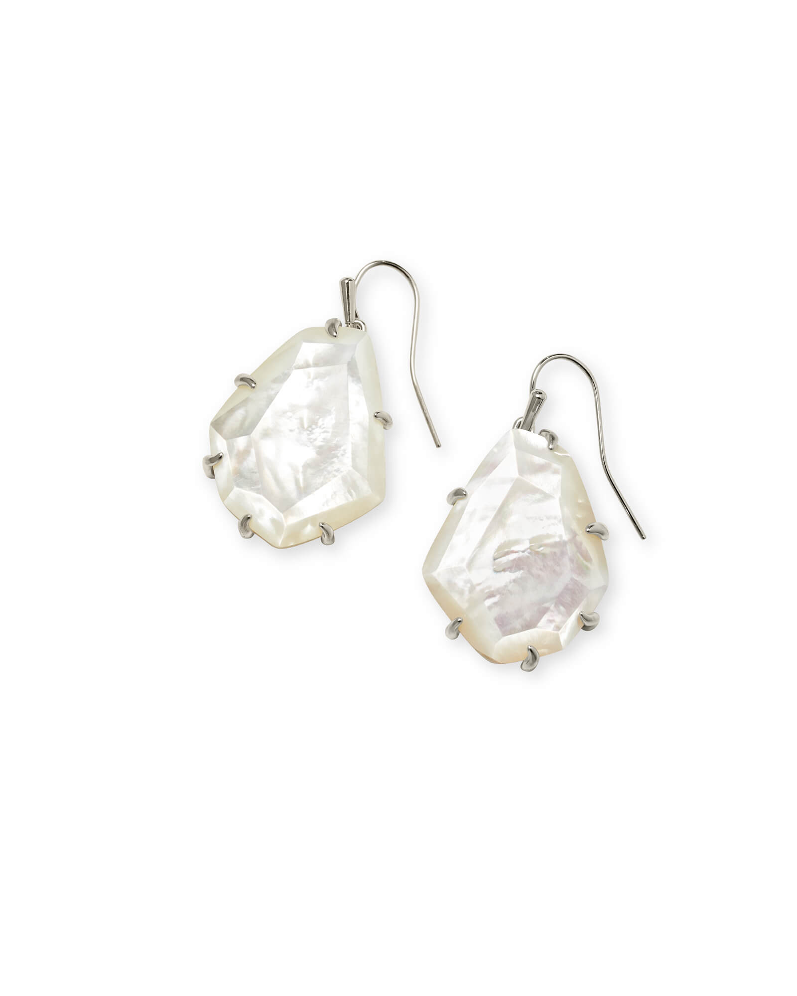 Rosenell Silver Drop Earrings In Ivory Mother of Pearl