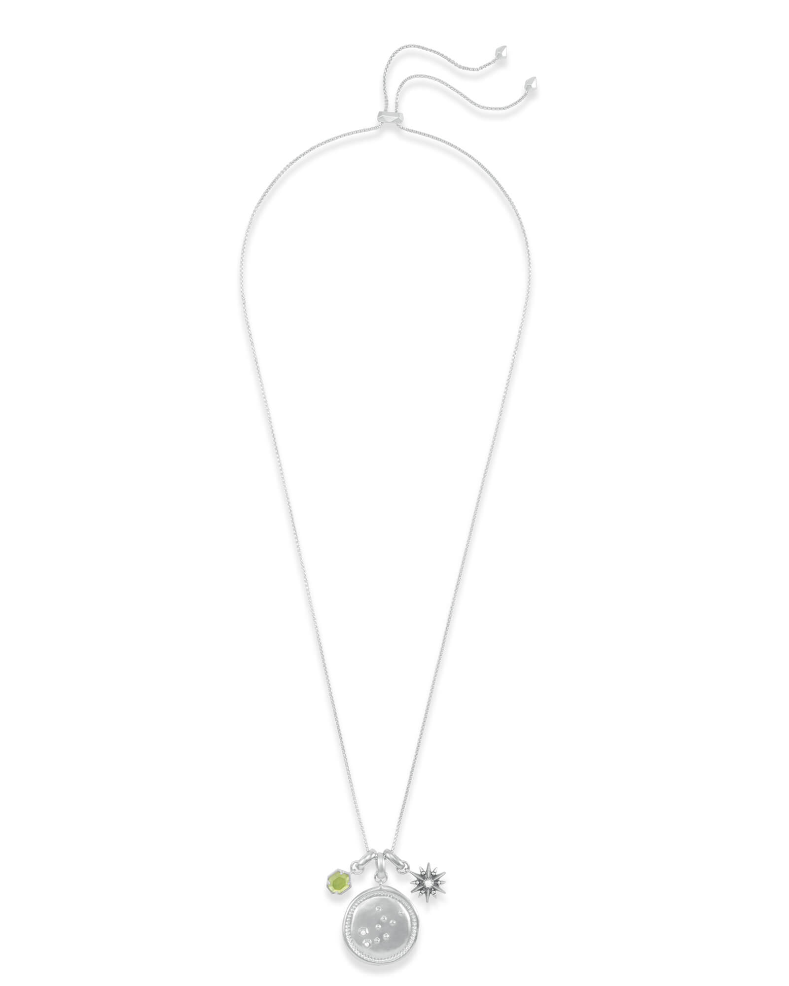 August Virgo Charm Necklace Set in Silver