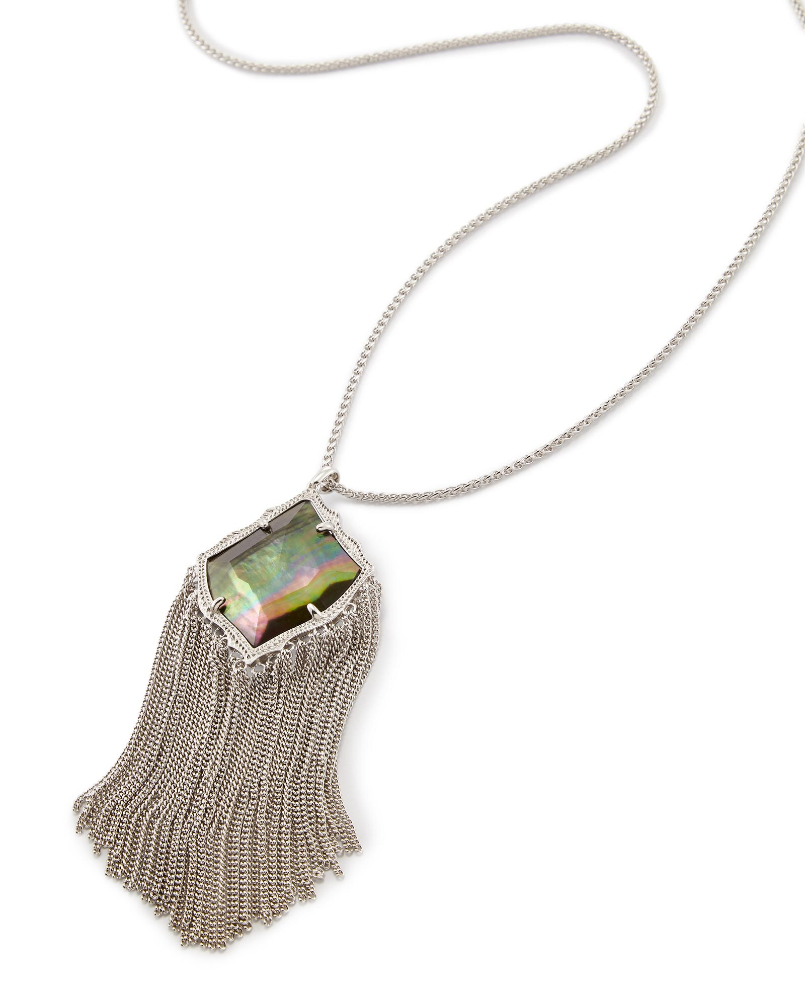 Kingston Long Pendant Necklace in Black Pearl