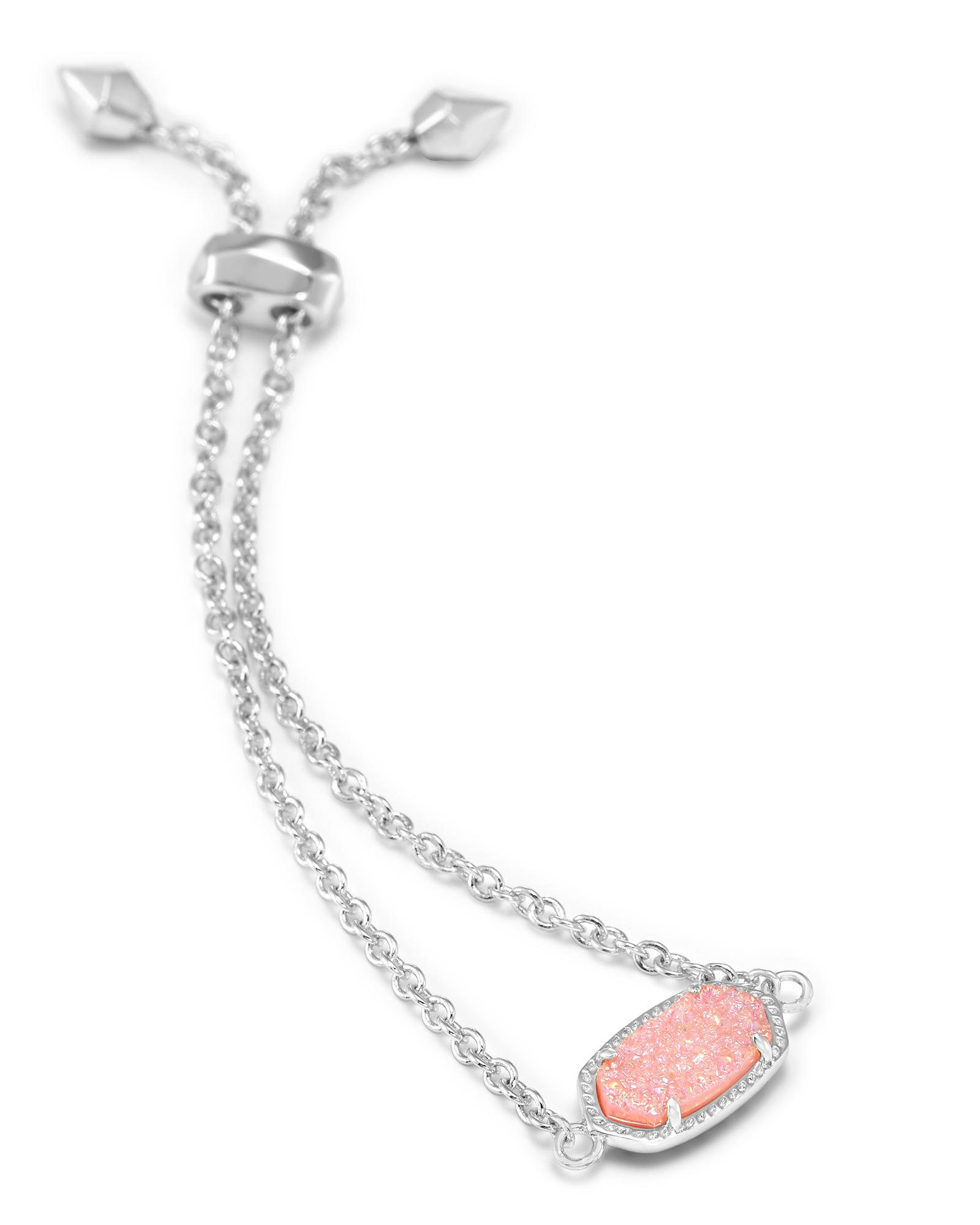 Elaina Silver Adjustable Chain Bracelet in Light Pink Drusy