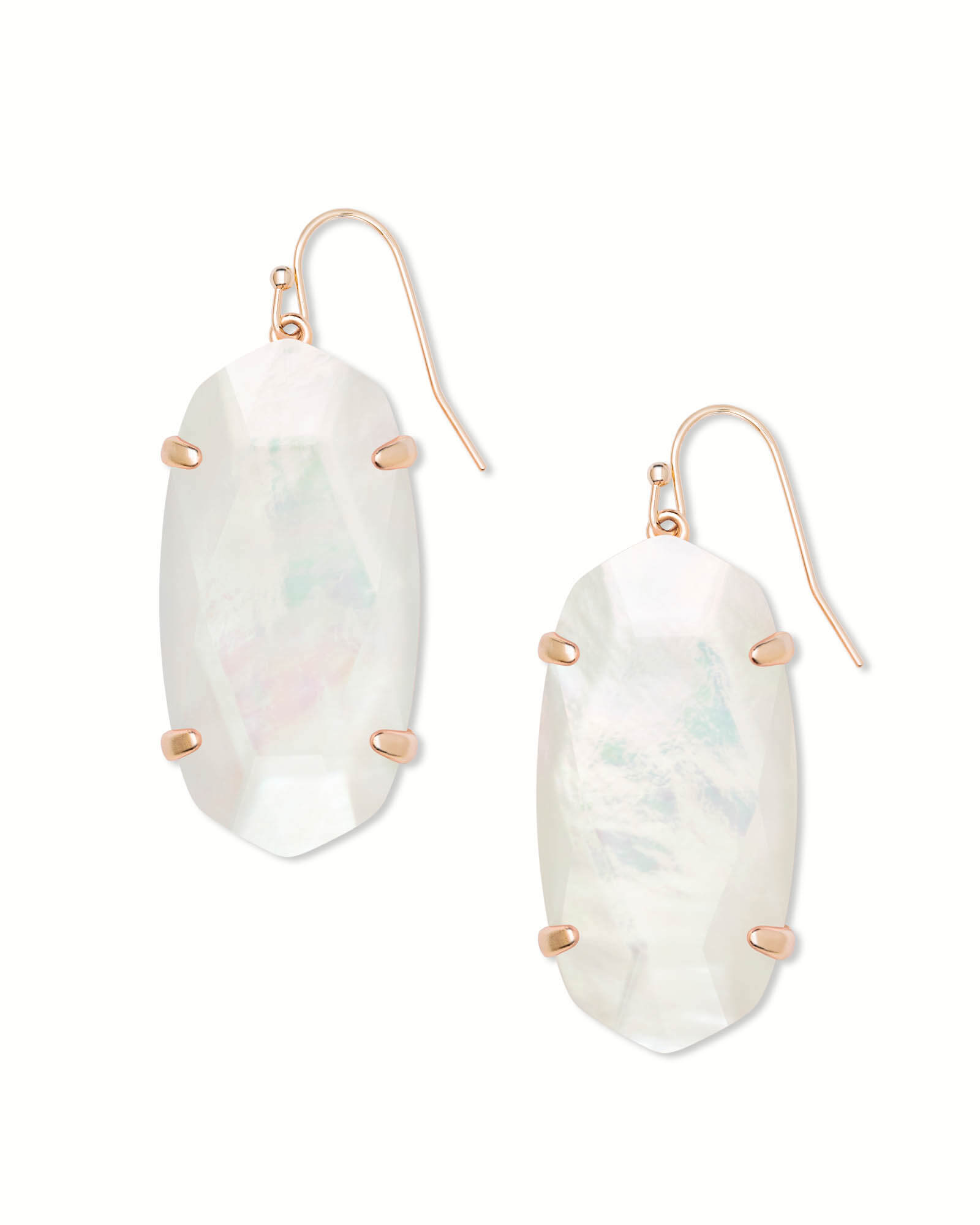 Esme Rose Gold Drop Earrings In Ivory Pearl
