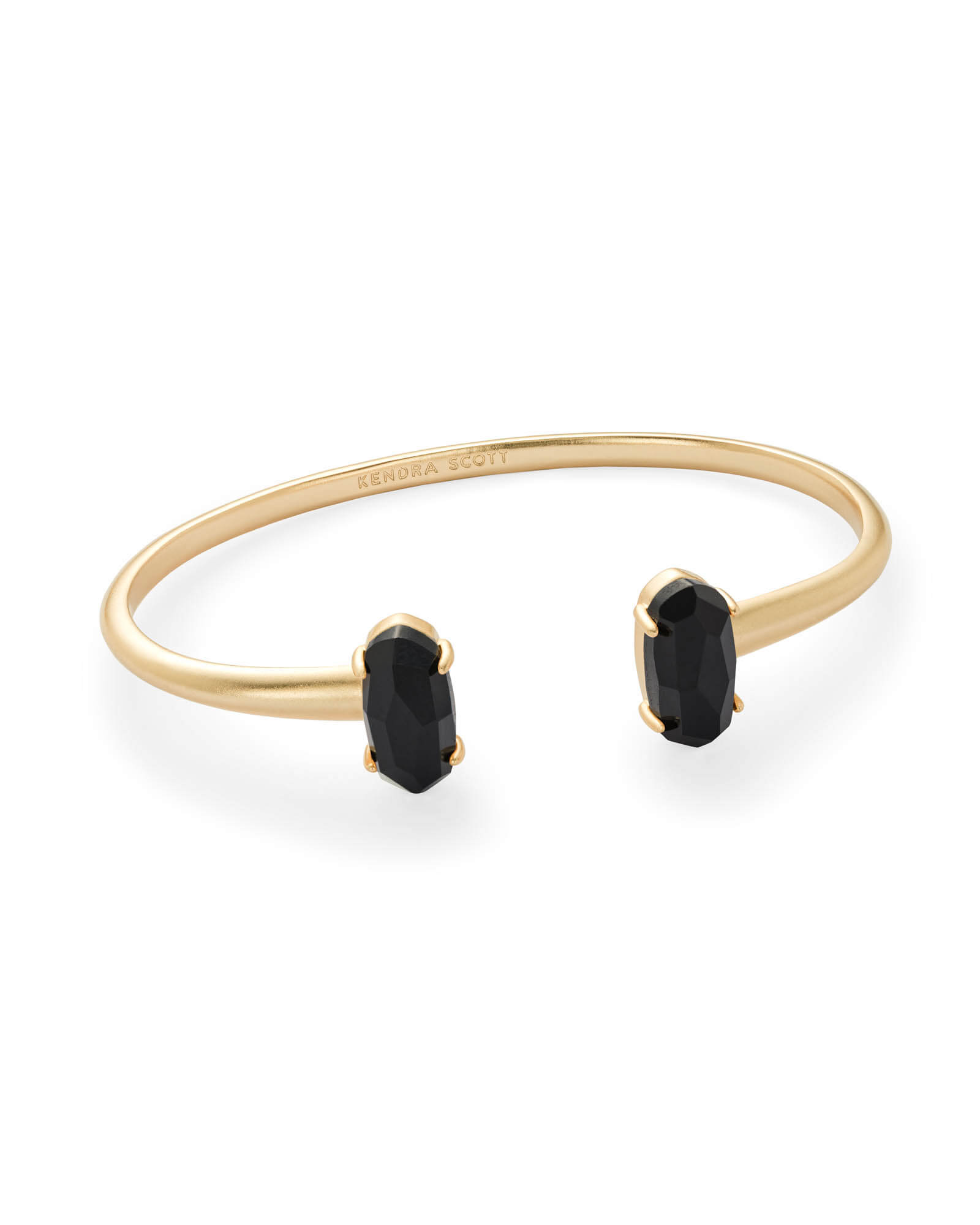 Edie Gold Cuff Bracelet in Black Opaque Glass