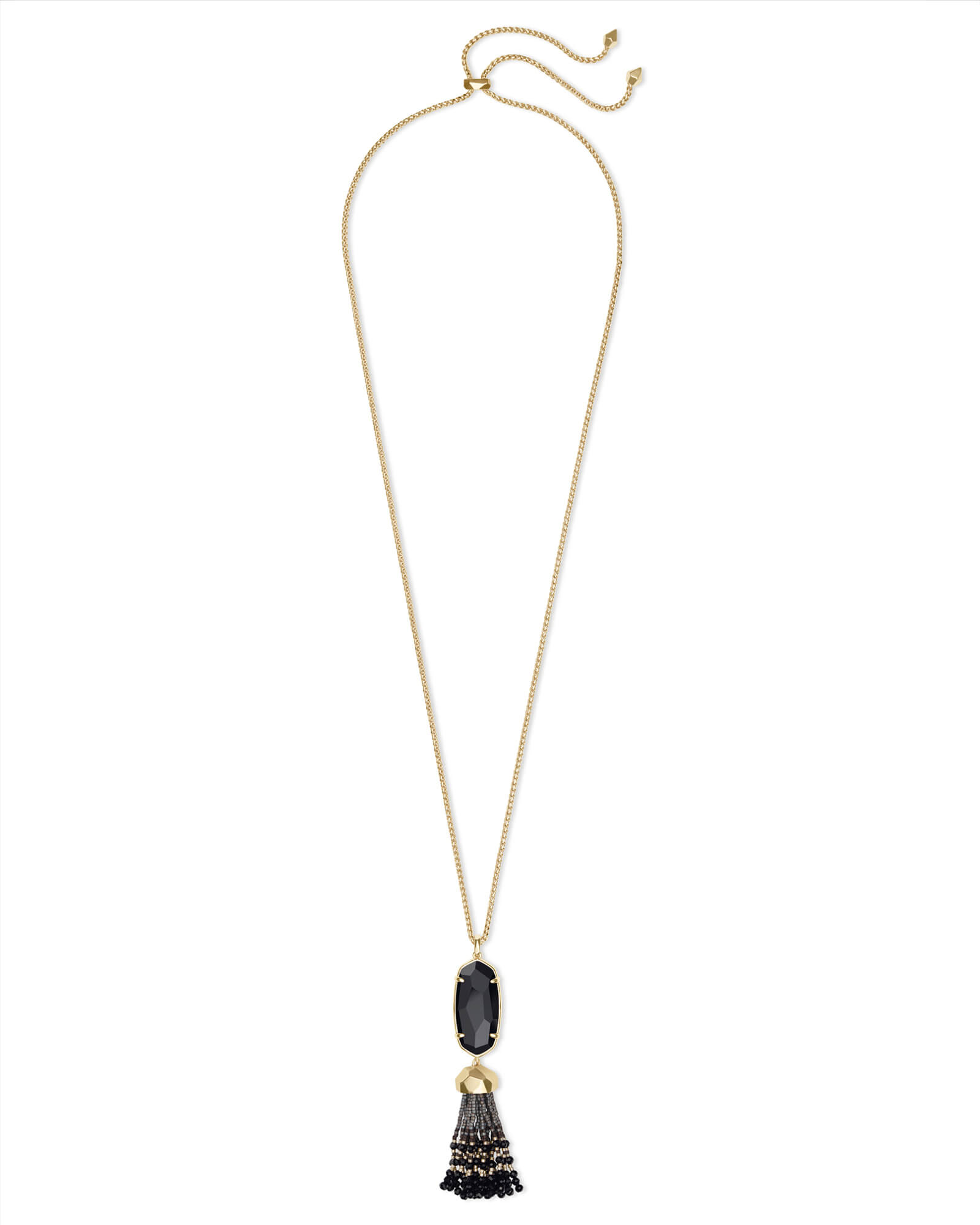 Eva Gold Long Pendant Necklace in Black Opaque Glass