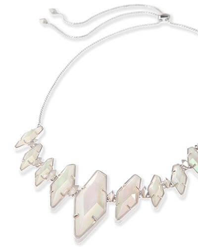Berniece Collar Necklace in Iridescent White Banded Agate