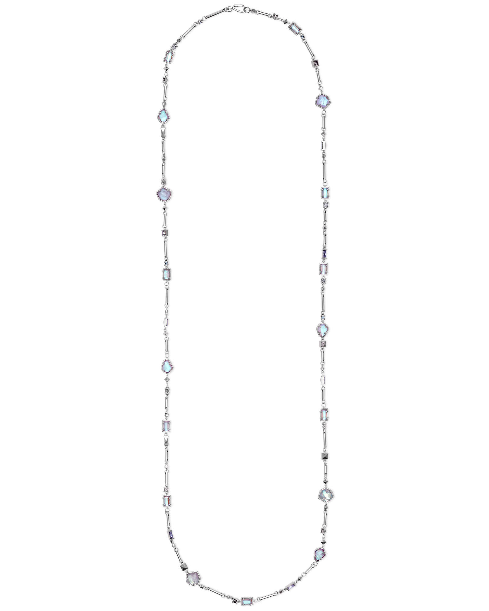 Yazmin Silver Long Pendant Necklace in Amethyst Mix