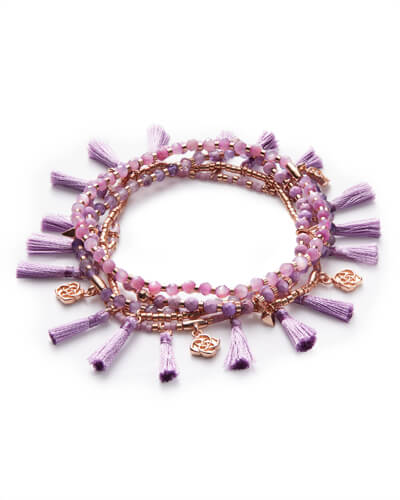 Julie Rose Gold Stretch Bracelet Set In Lilac Mother of Pearl Mix