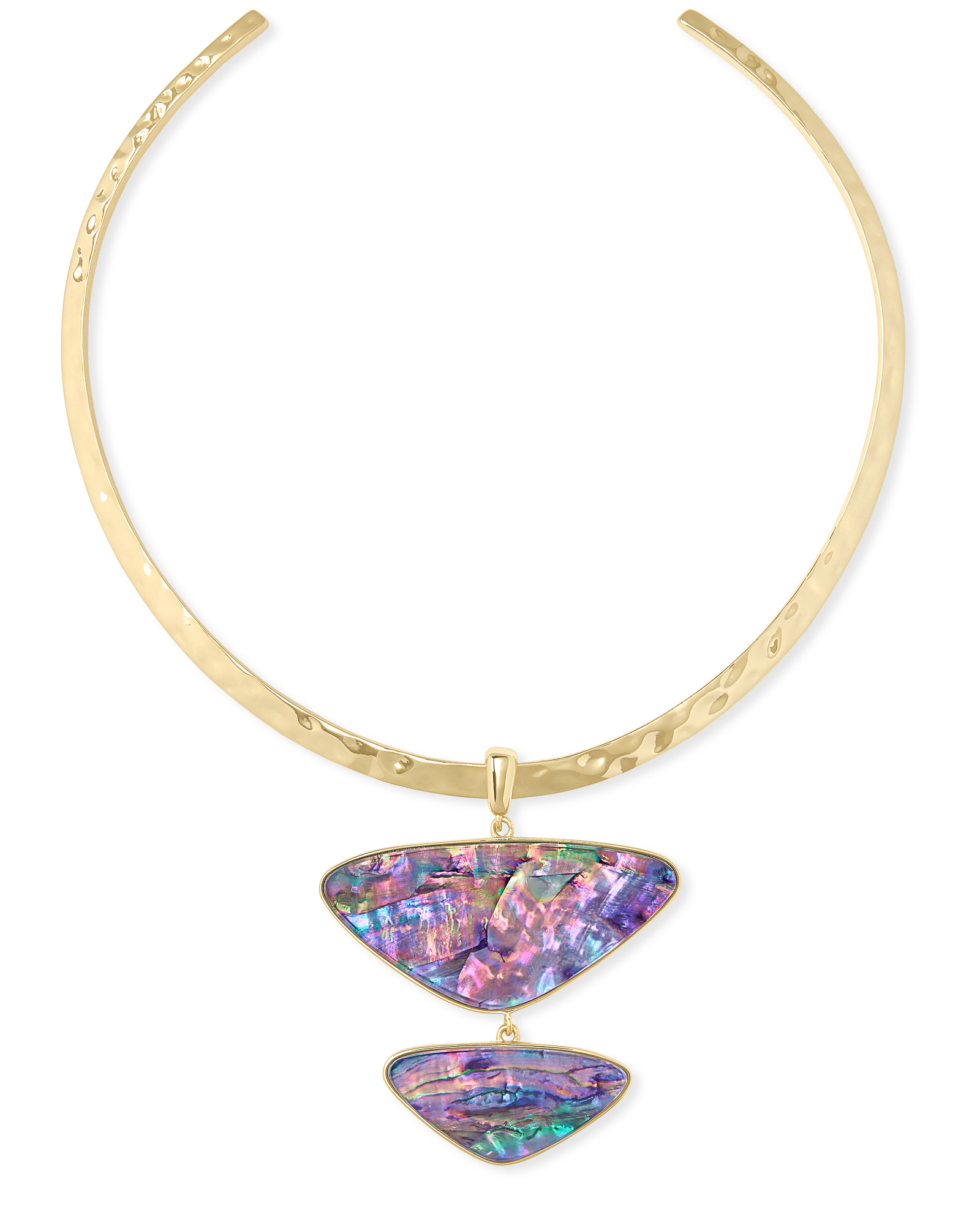 Margot Gold Statement Necklace in Lilac Abalone