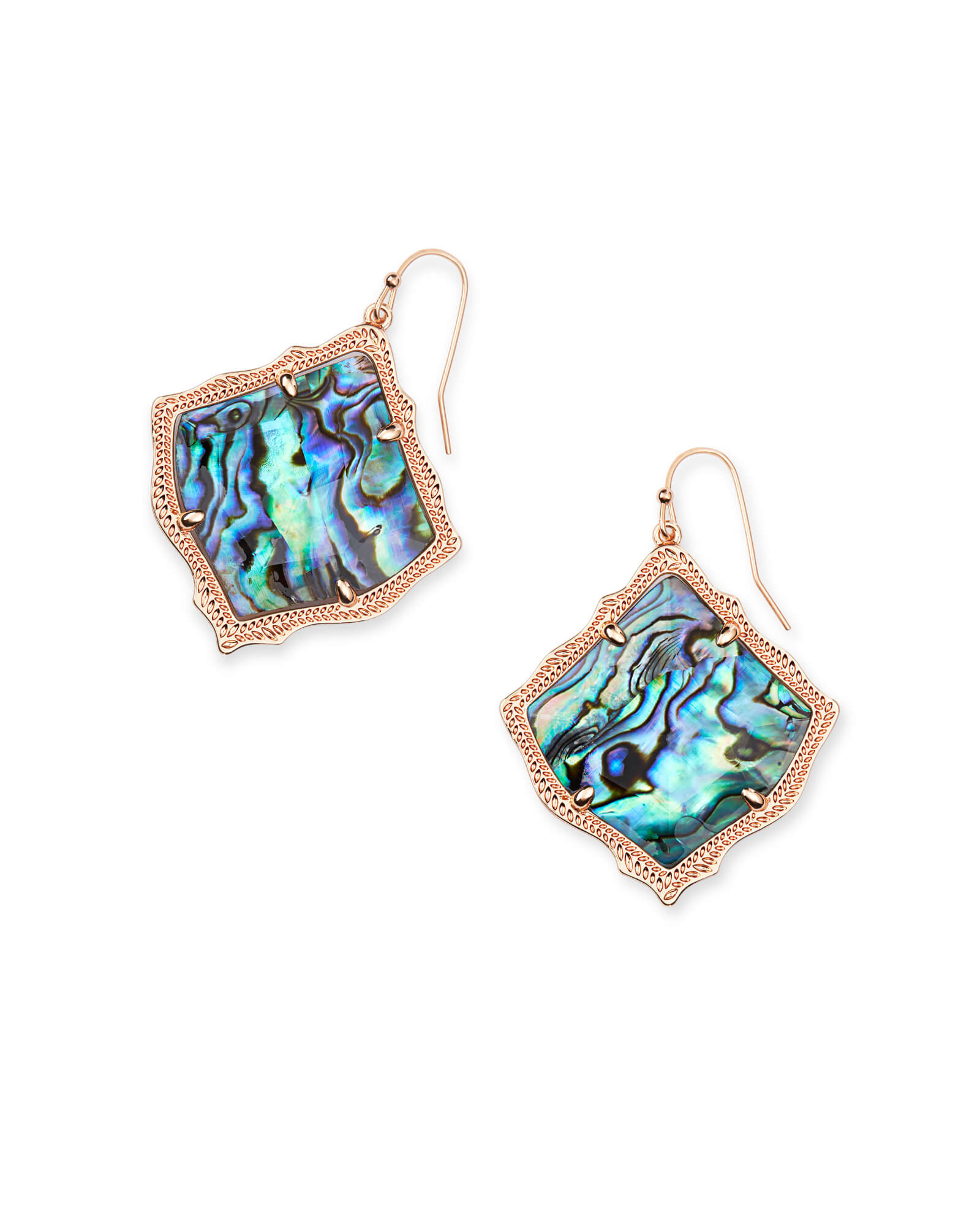 Kirsten Rose Gold Drop Earrings in Abalone Shell