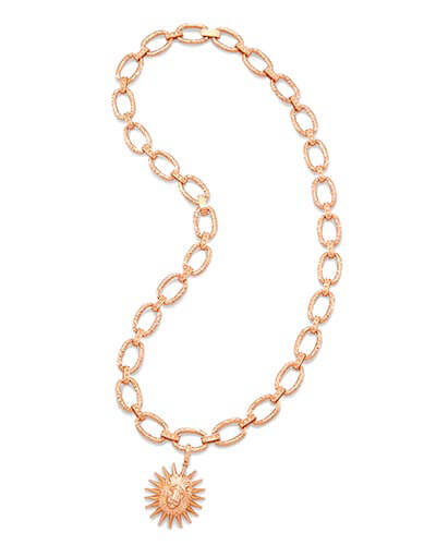 Athena Long Pendant Necklace in Rose Gold