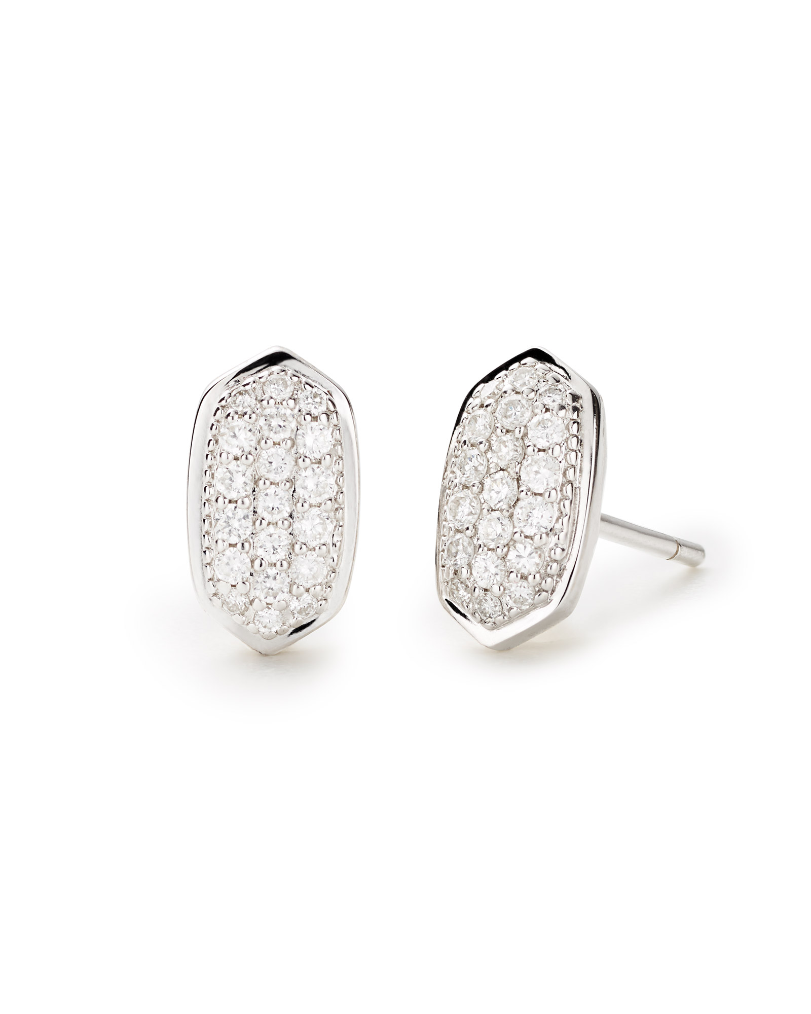 Amelee Earrings in Pave Diamond and 14k White Gold