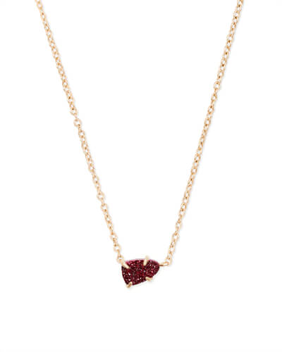 Helga Gold Pendant Necklace in Maroon Drusy