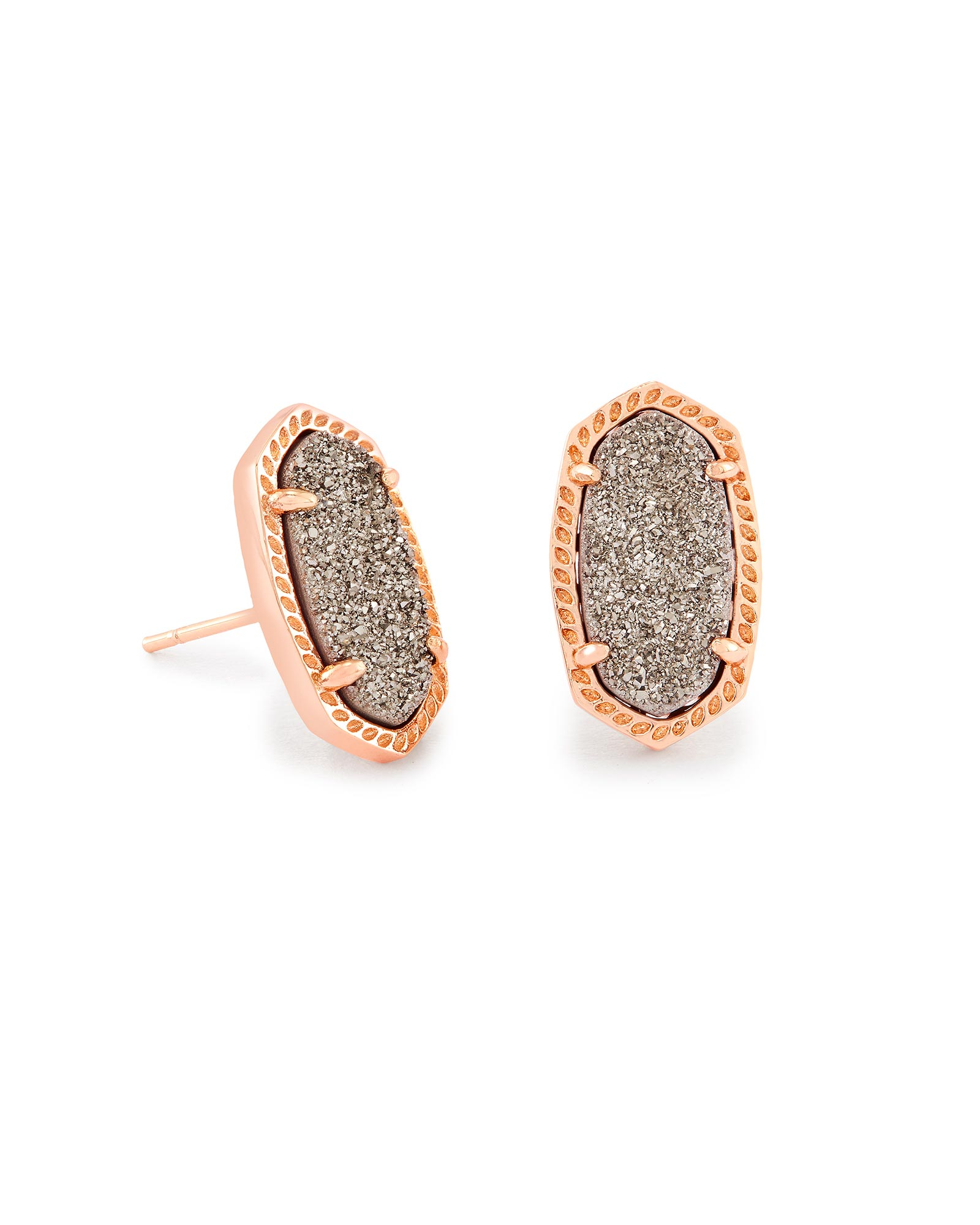 Ellie Rose Gold Stud Earrings in Platinum Drusy