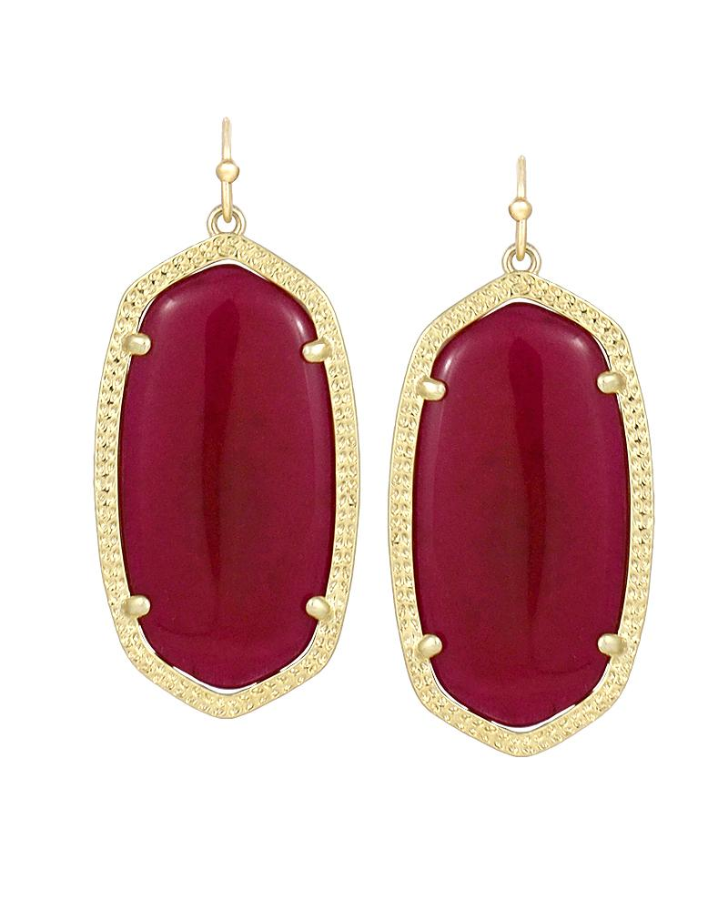 Elle Earrings in Fuchsia Jade