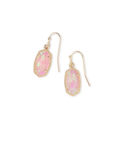 Lee Gold Earrings in Light Pink Opal