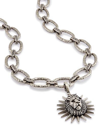 Athena Long Pendant Necklace in Antique Silver