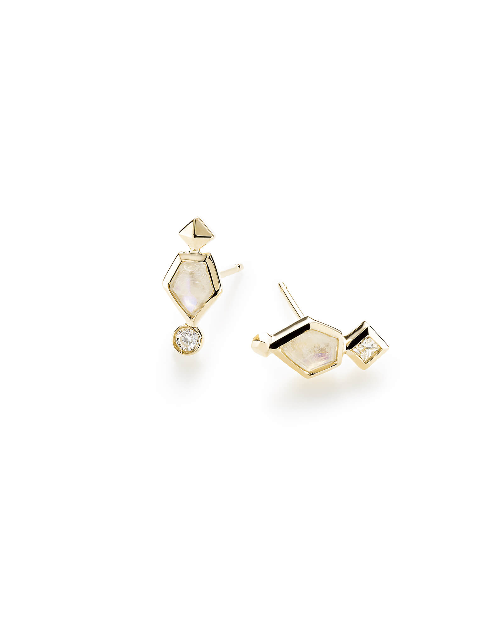 Bonnie Stud Earrings in Rainbow Moonstone and 14k Yellow Gold