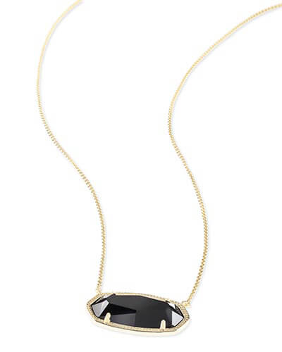 Delaney Gold Pendant Necklace in Black
