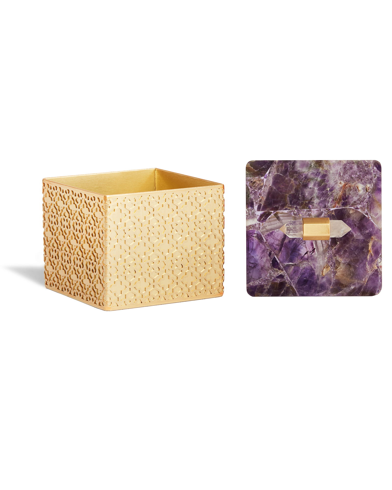 Square Filigree Box in Chevron Amethyst