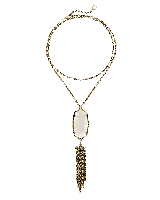 Rayne Long Pendant Necklace in Antique Brass