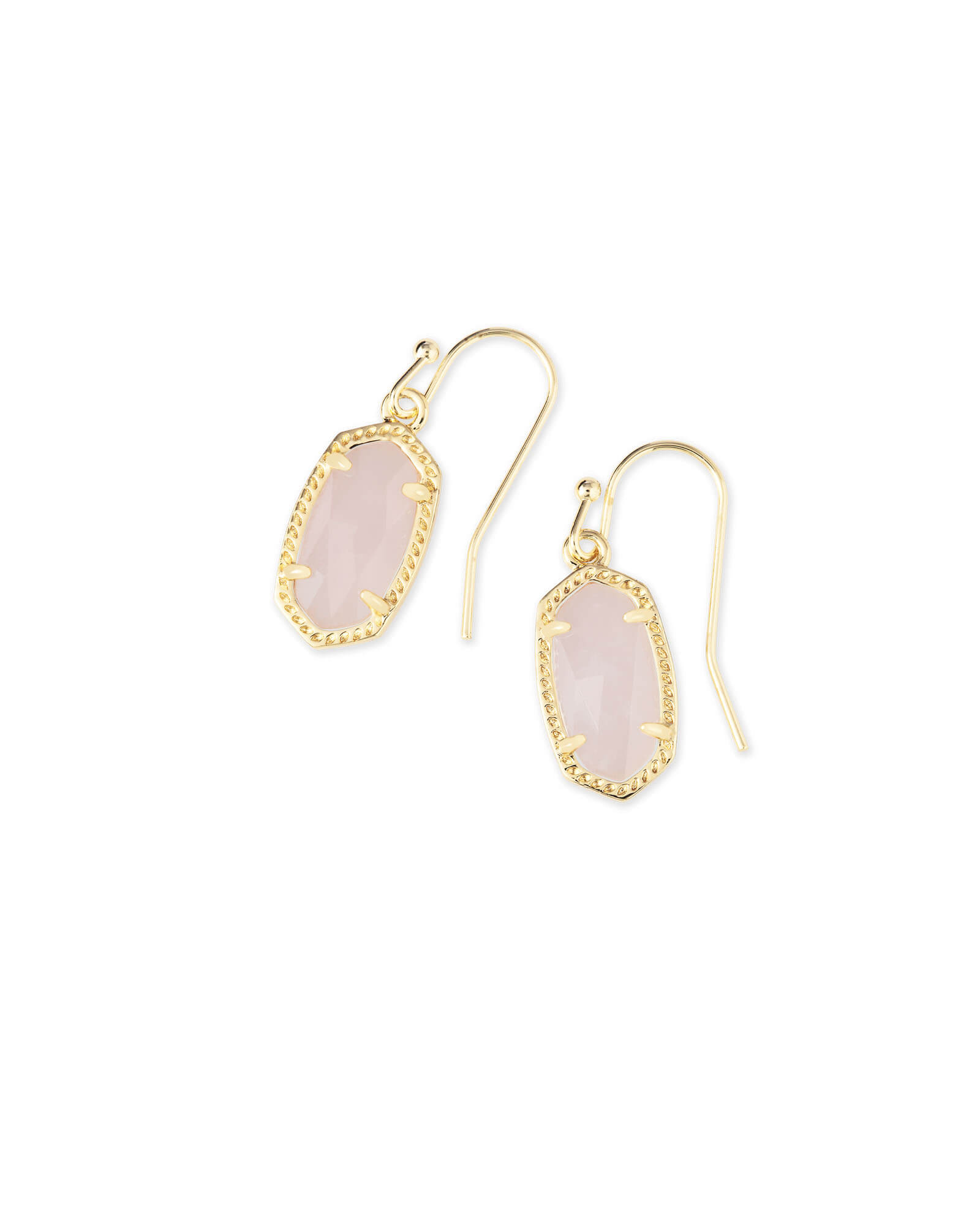 Lee Gold Drop Earrings in Rose Quartz