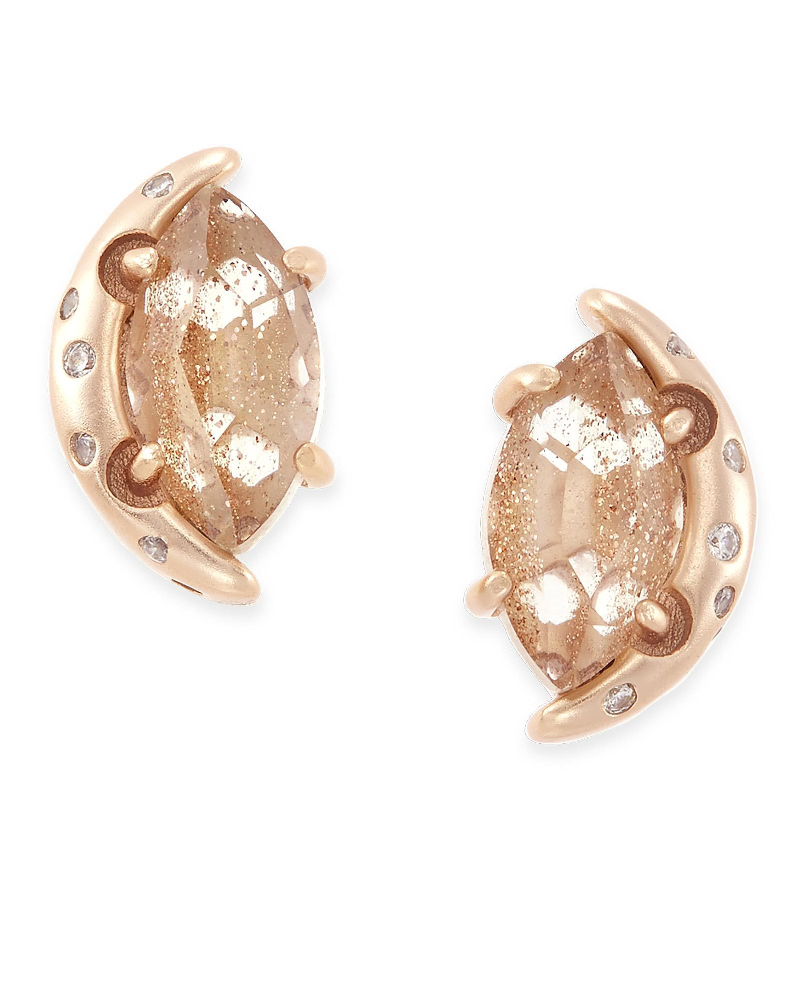 Marie Stud Earrings in Gold Dusted Glass
