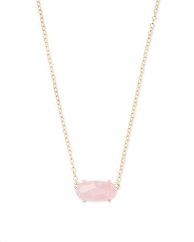 Ever Gold Pendant Necklace in Rose Quartz