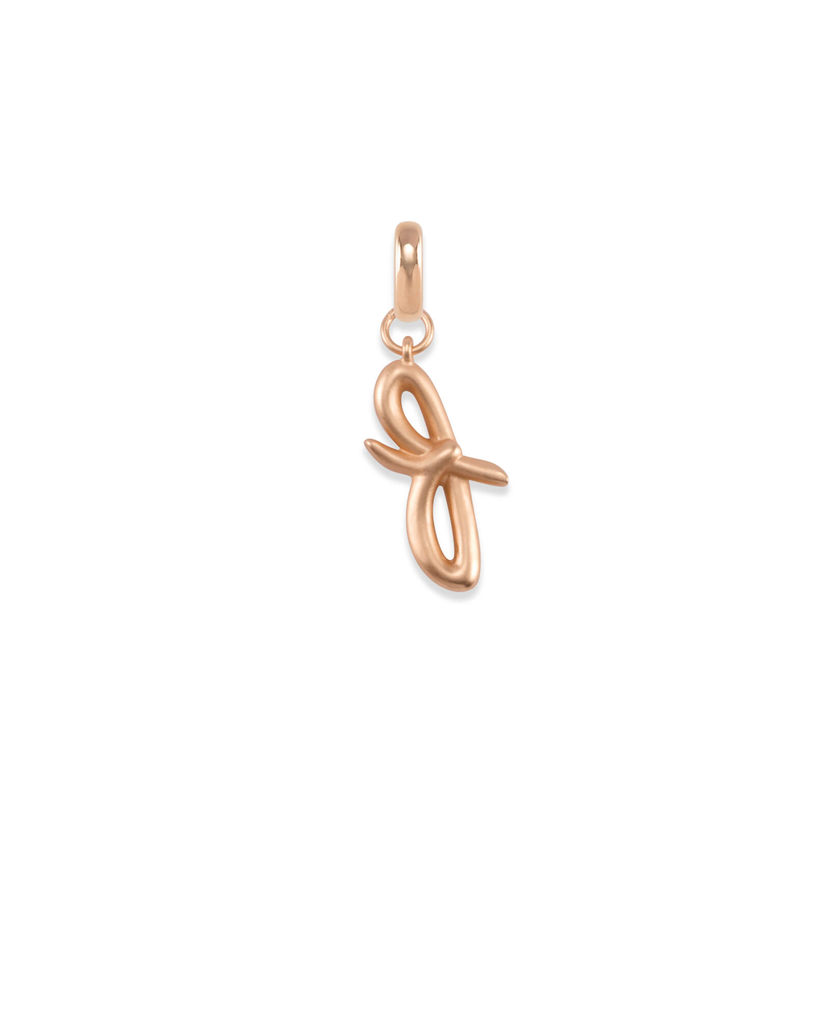 Letter F Charm in Rose Gold