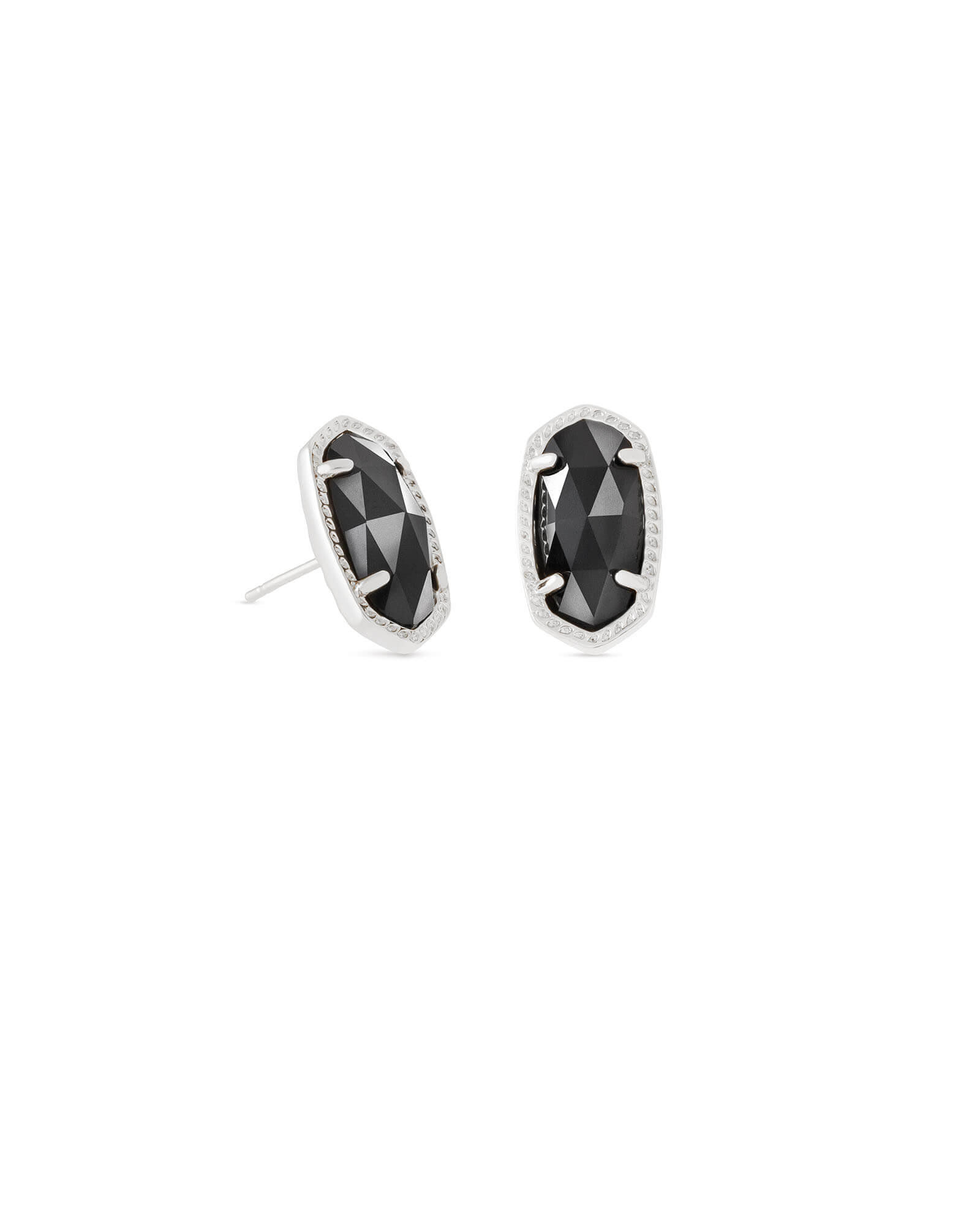Ellie Silver Stud Earrings in Black