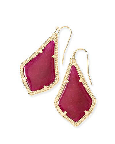 Alex Earrings in Maroon Jade
