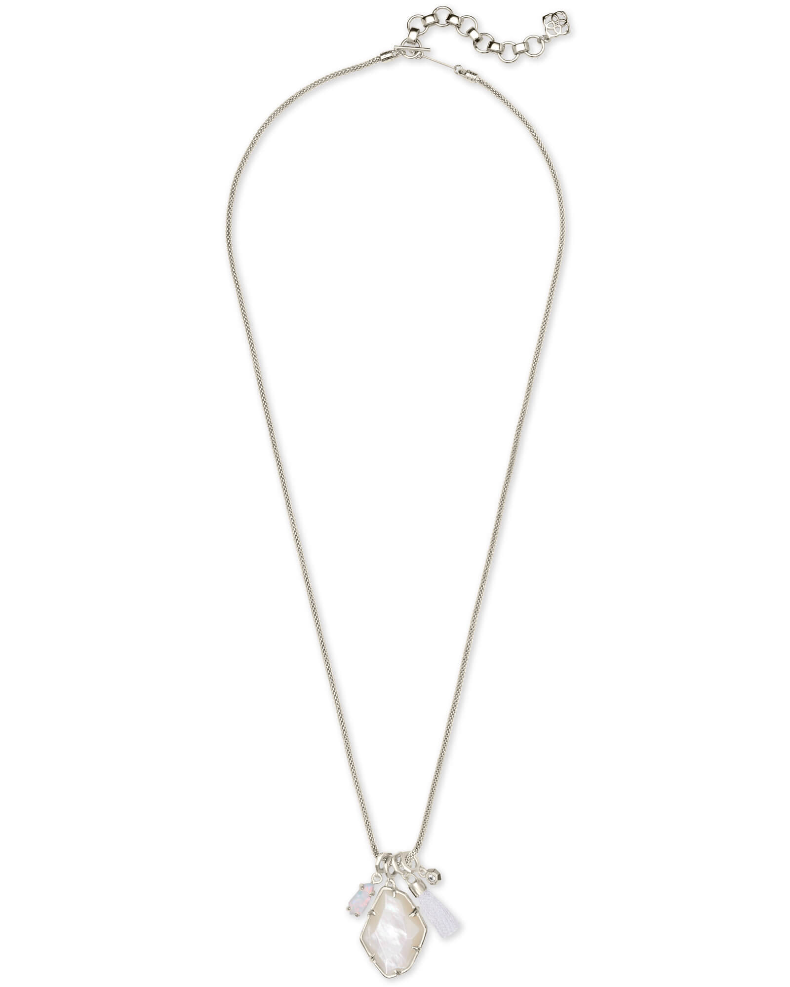Hailey Silver Long Pendant Necklace In Ivory Mother of Pearl
