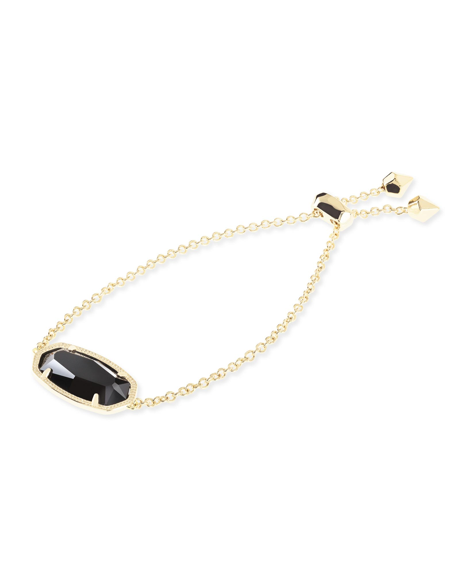 Daisy Gold Adjustable Chain Bracelet in Black