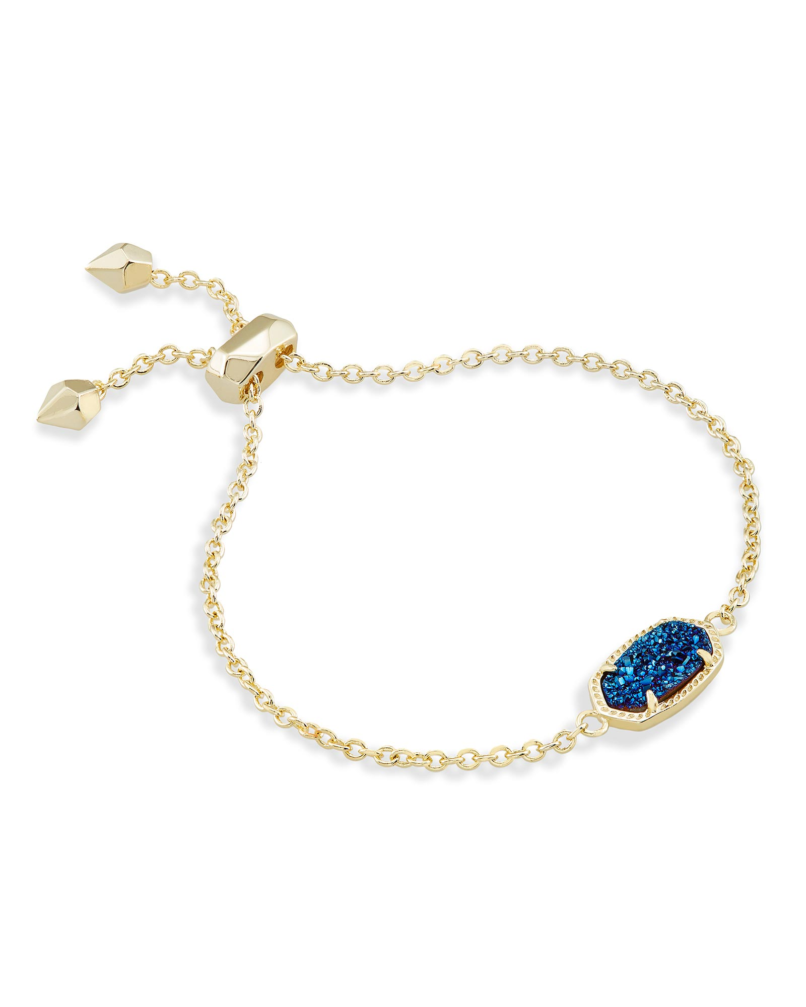 Elaina Adjustable Chain Bracelet in Blue Drusy