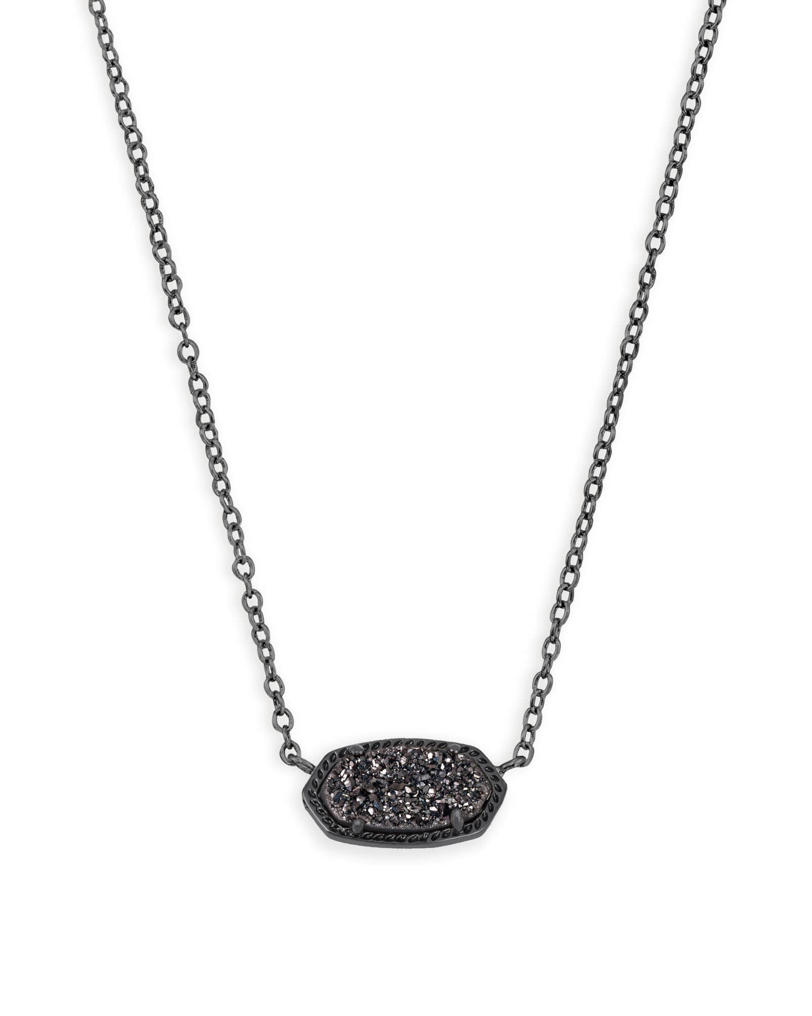 Elisa gunmetal pendant necklace in black kendra scott elisa pendant necklace in black drusy aloadofball Image collections