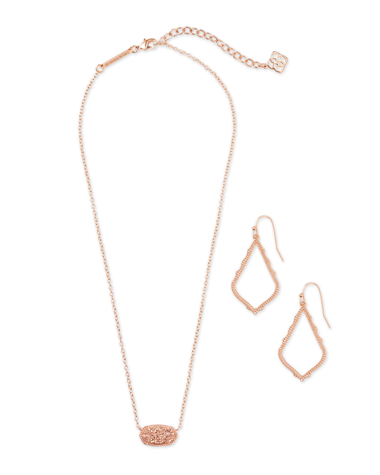 Sophia Earrings & Elisa Necklaces Gift Set in Rose Gold