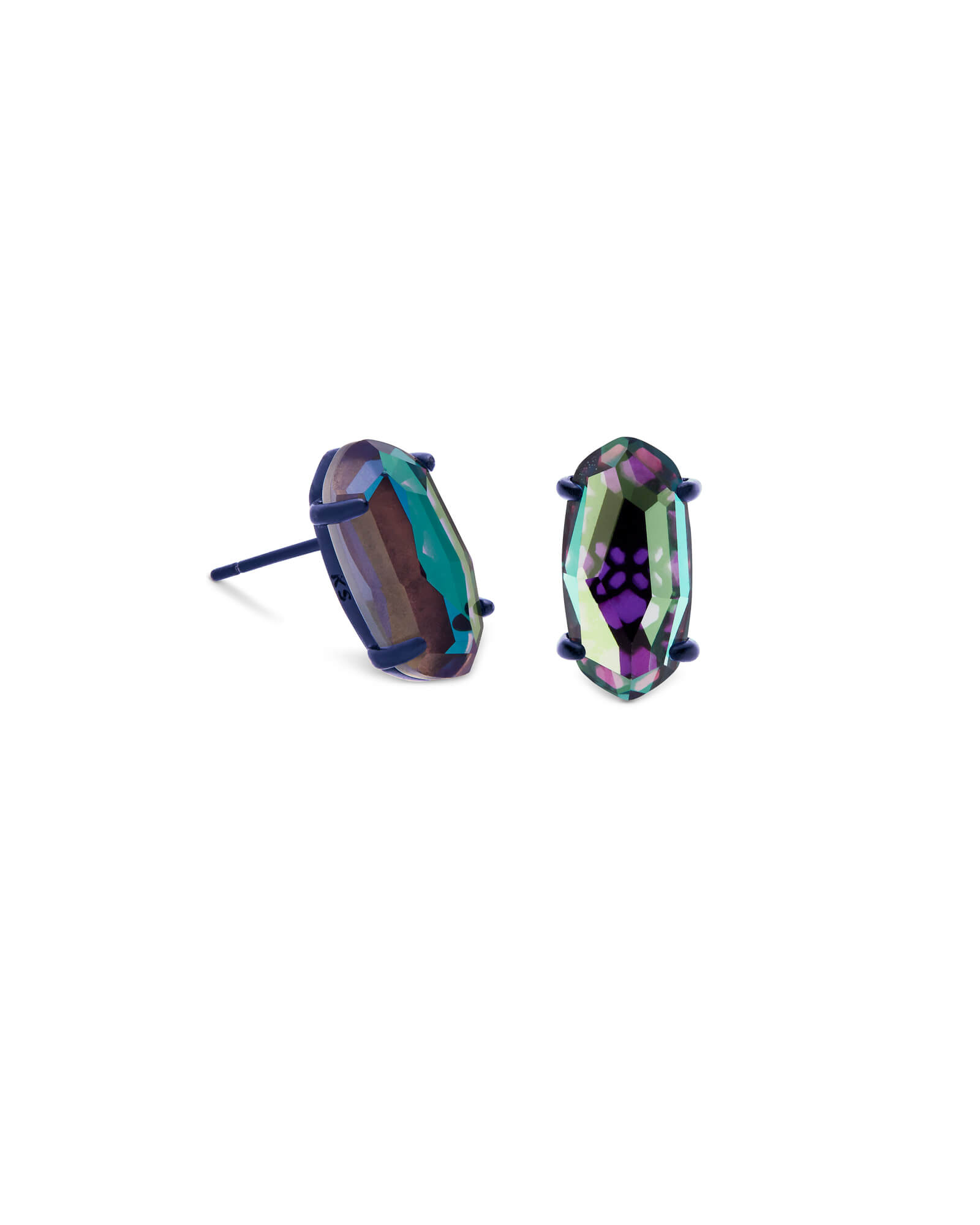 Betty Navy Gunmetal Stud Earrings in Indigo Dichroic Glass