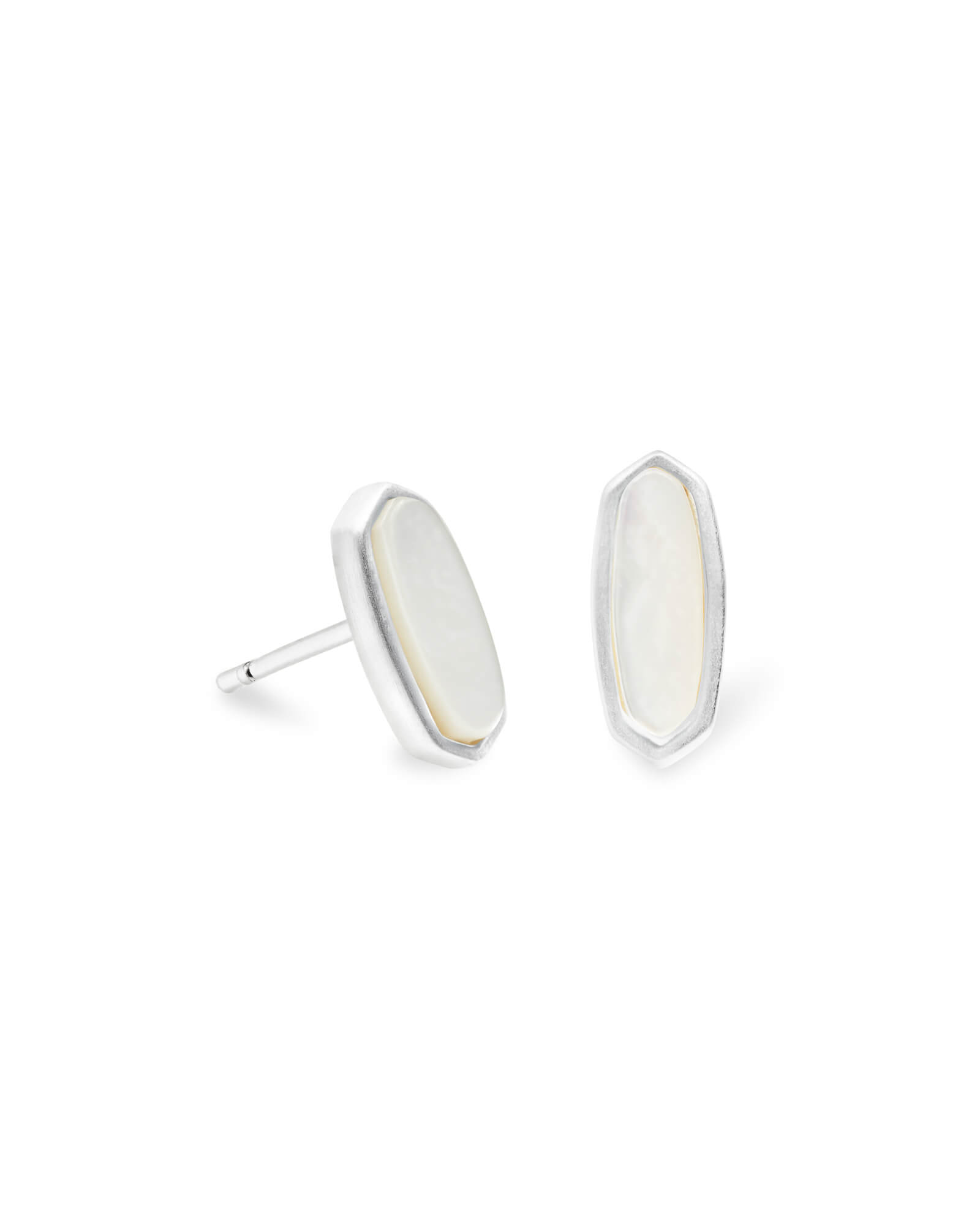 Mae Bright Silver Stud Earrings in Ivory Pearl