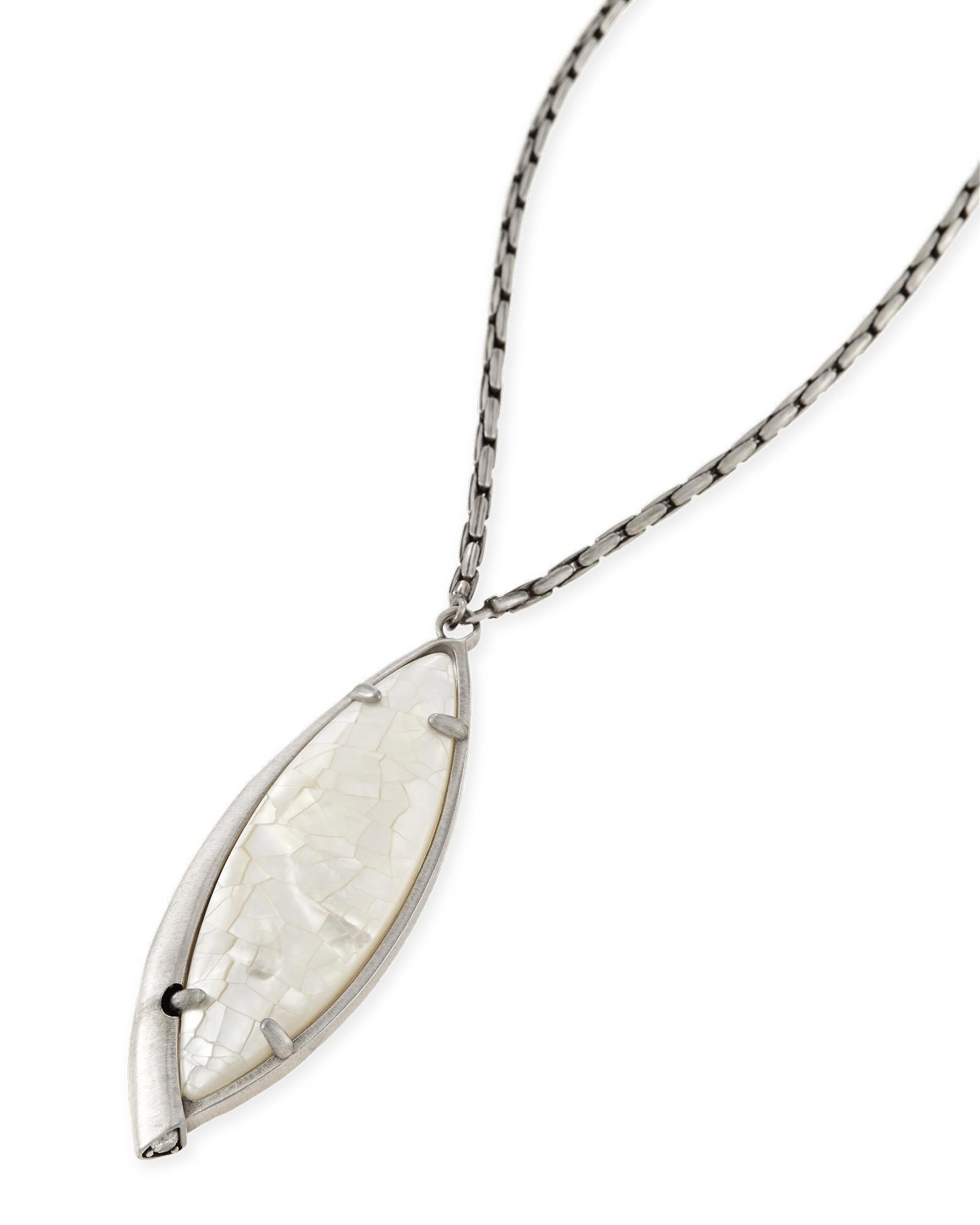 Milla Long Necklace in Crackle Ivory Pearl