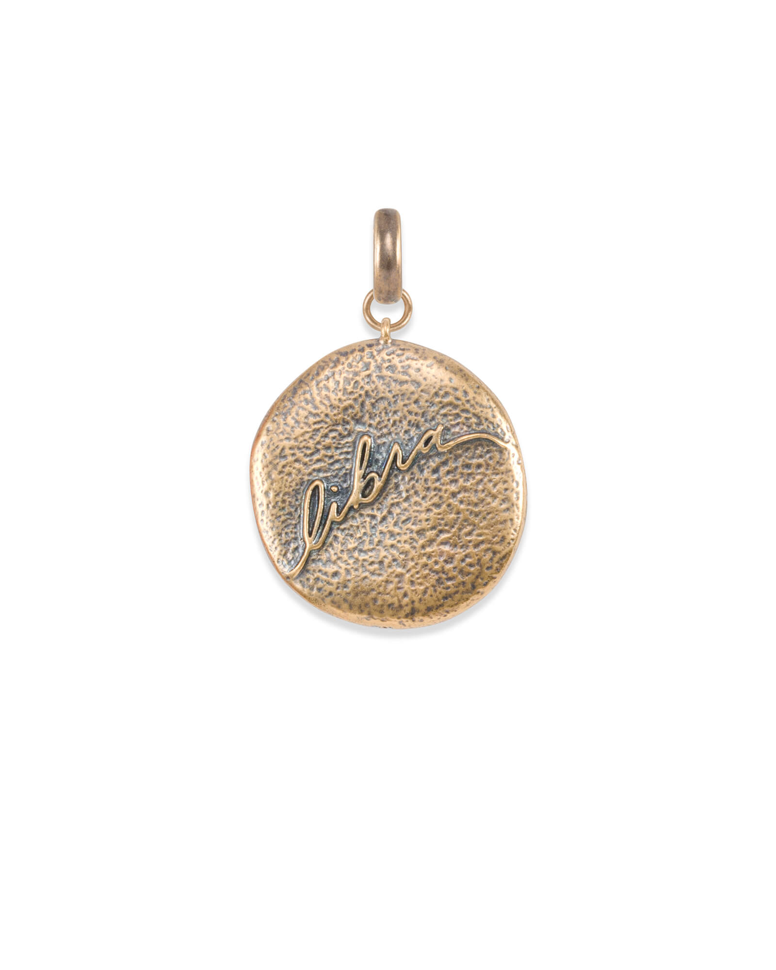 Libra Coin Charm in Vintage Gold