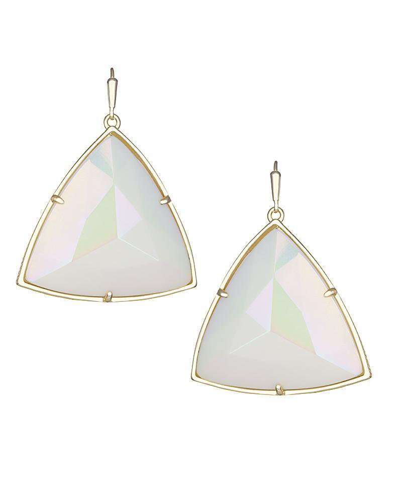 Nikki Gold Drop Earrings in Iridescent White Kendra Scott