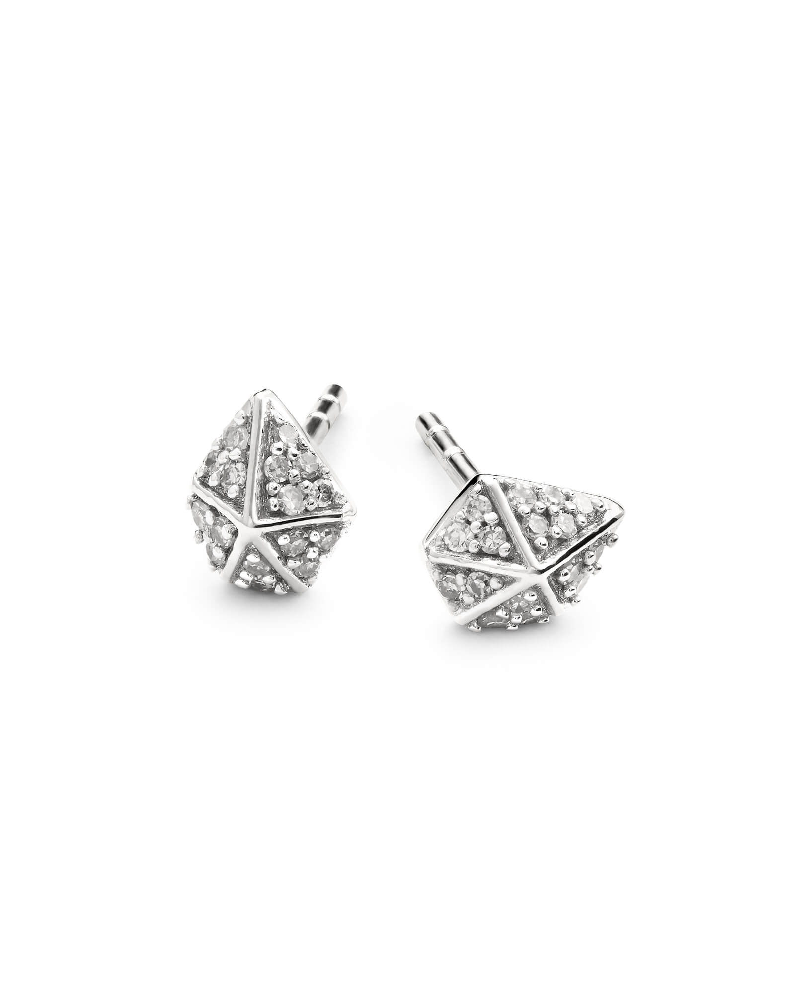 Manet 14k White Gold Stud Earrings in White Diamond