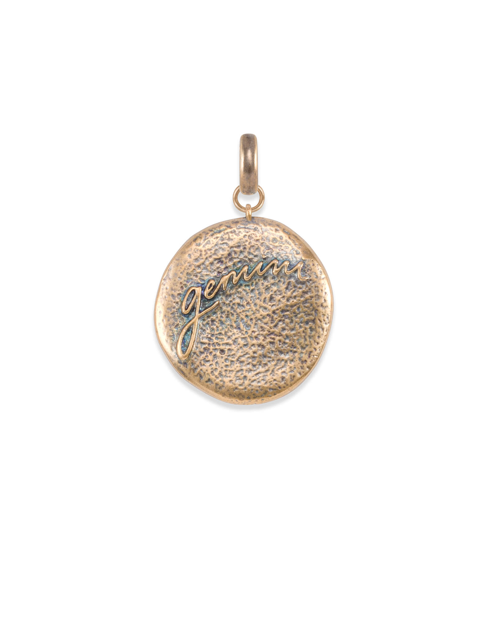 Gemini Coin Charm in Vintage Gold