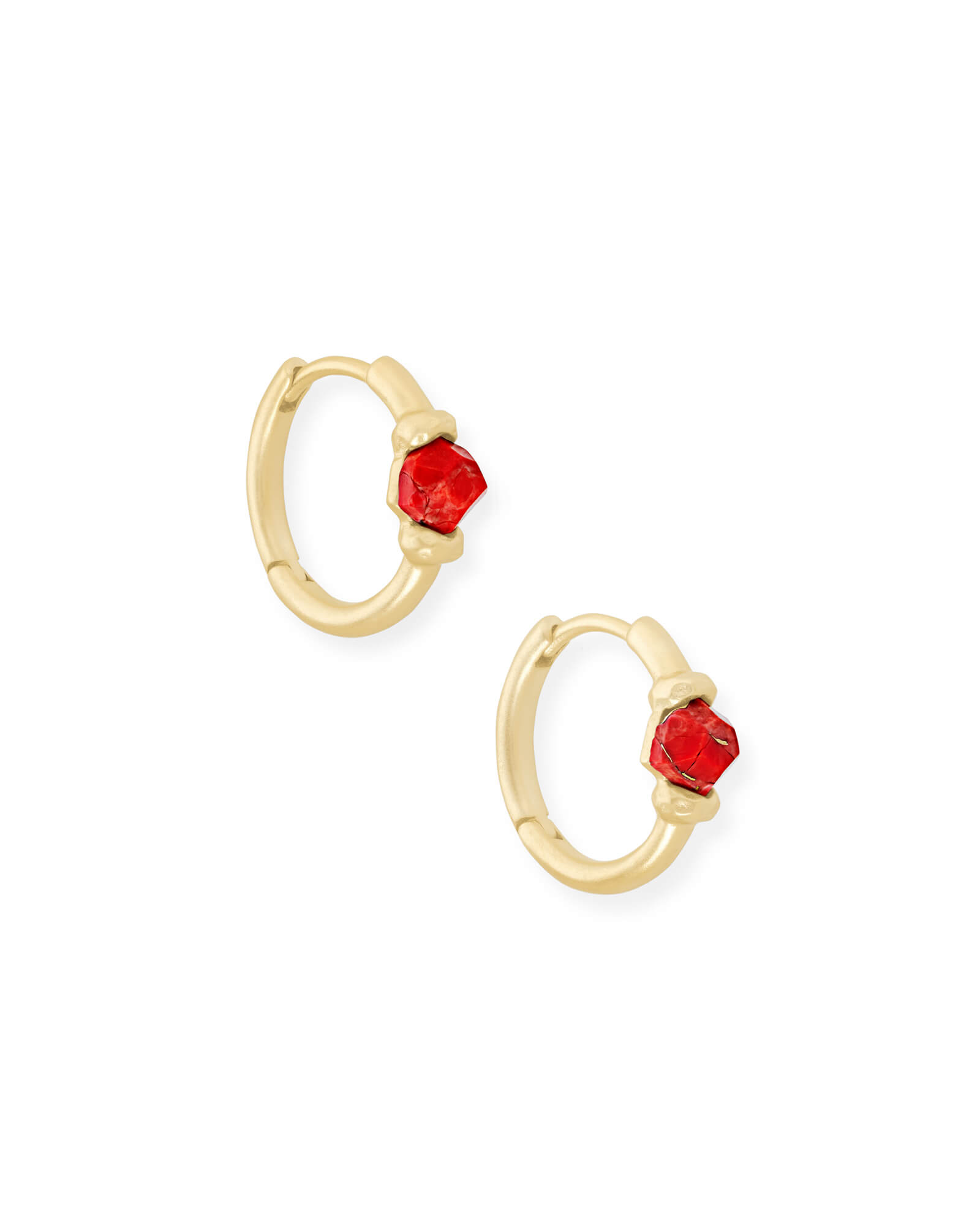 Ellms Gold Huggie Earrings in Bronze Veined Red Magnesite