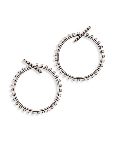 Charlie Grace Hoop Earrings in Antique Silver