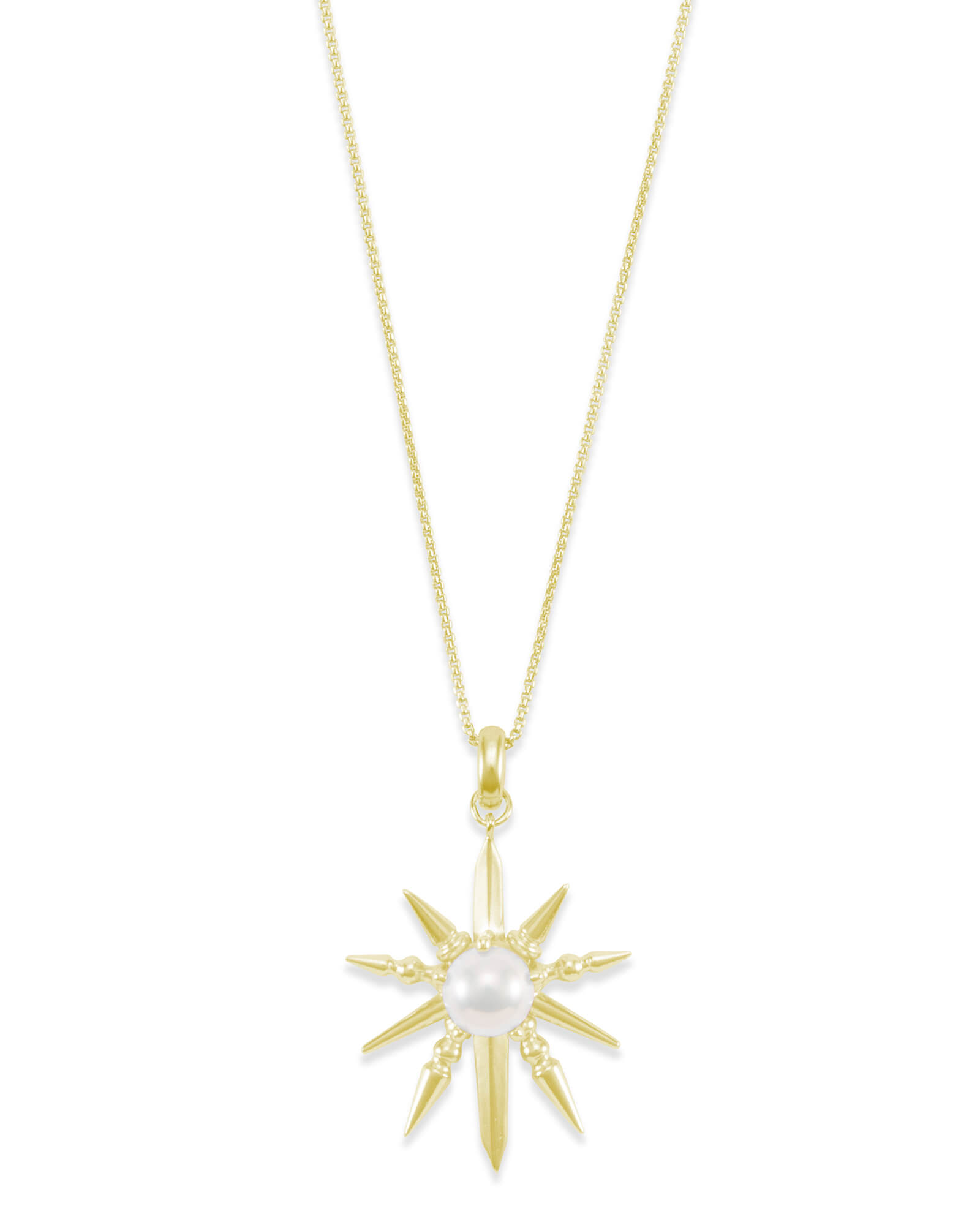 Sunburst With Pearl Charm Necklace Set