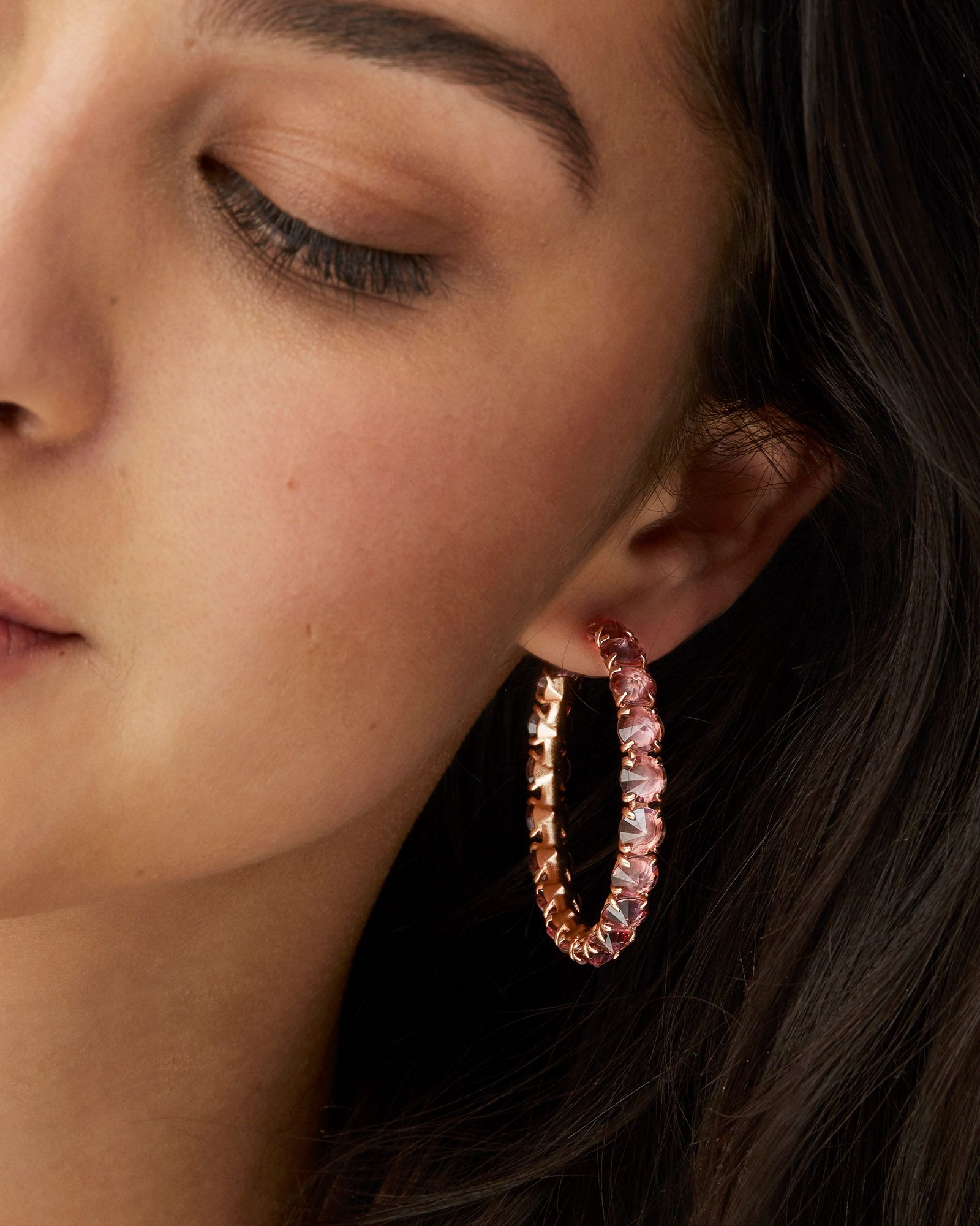 Jolie Rose Gold Hoop Earrings in Peach Ombre
